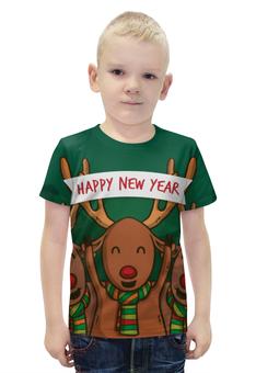 """Футболка с полной запечаткой для мальчиков """"Happy New Year 2016!"""" - праздник, дизайн, с новым годом, ручная работа, денис гесс"""