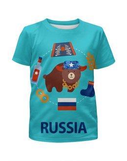 """Футболка с полной запечаткой для мальчиков """"Россия (Russia)"""" - медведь, россия, russia, рф, раша"""
