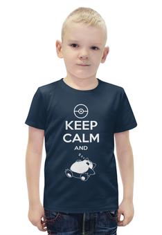 """Футболка с полной запечаткой для мальчиков """"Keep Calm"""" - надпись, рисунок"""