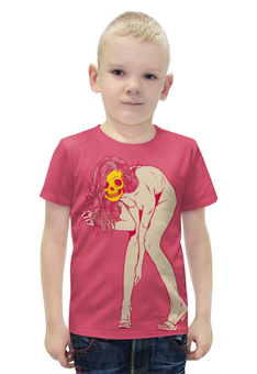 """Футболка с полной запечаткой для мальчиков """"Girl Skull"""" - skull, череп, девушка, girl, арт дизайн"""