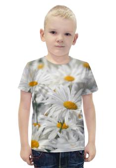 """Футболка с полной запечаткой для мальчиков """"Ромашки"""" - цветы, цветок, белый, ромашка, желтый"""