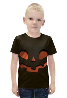 """Футболка с полной запечаткой для мальчиков """"Тыква (Happy Halloween)"""" - тыква, happy halloween, привидение"""