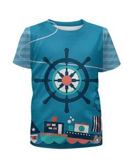 """Футболка с полной запечаткой для мальчиков """"Морская тема"""" - море, якорь, штурвал, корабли"""