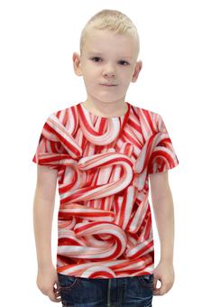 """Футболка с полной запечаткой для мальчиков """"Леденцы 3D"""" - конфеты, рождество, санта, леденцы"""