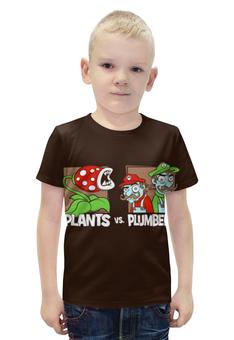 """Футболка с полной запечаткой для мальчиков """"Plants vs Plumbers """" - пародия"""
