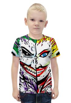 """Футболка с полной запечаткой для мальчиков """"The Joker & Harley Quinn"""" - джокер, харли квинн, dc комиксы, арт дизайн, суперзлодеи"""
