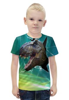 """Футболка с полной запечаткой для мальчиков """"Динозавр"""" - рисунок, зубы, динозавр"""