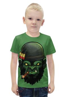 """Футболка с полной запечаткой для мальчиков """"War Monkey/Обезьяна"""" - арт, армия, война, обезьяна, иллюстрация"""