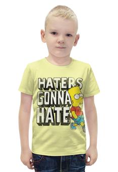 """Футболка с полной запечаткой для мальчиков """"Haters gonna hate. Барт Симпсон"""" - simpsons, прикольные, haters gonna hate, барт симпсон, симпспоны"""