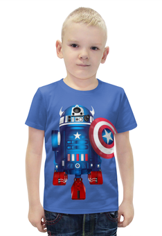 """Футболка с полной запечаткой для мальчиков """"Captain America """" - пародия, дроид"""