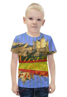 """Футболка с полной запечаткой для мальчиков """"Средневековой испанский замок Сеговия."""" - желтый, испания, замок, полоски, крепость"""