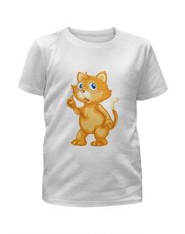 """Футболка с полной запечаткой для мальчиков """"Рыжий кот"""" - кот, кошка, животные, котёнок"""