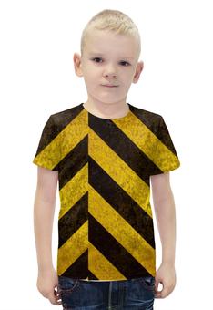 """Футболка с полной запечаткой для мальчиков """"Полосы 5"""" - чёрный, жёлтый, полосы"""