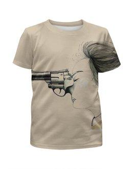 """Футболка с полной запечаткой для мальчиков """"Magic women"""" - арт, оружие, gun, револьвер"""