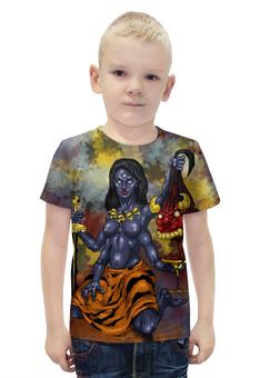 """Футболка с полной запечаткой для мальчиков """"Кали- Богиня разрушения"""" - арт, авторские майки, индуизм, мифология"""