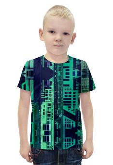 """Футболка с полной запечаткой для мальчиков """"""""Город будущего"""" """" - зеленый, синий, киберпанк, небоскребы, мегаполис"""