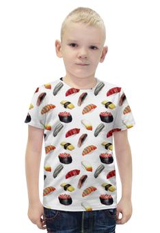 """Футболка с полной запечаткой для мальчиков """"Суши-Арт"""" - еда, суши, япония, рыба, меню"""