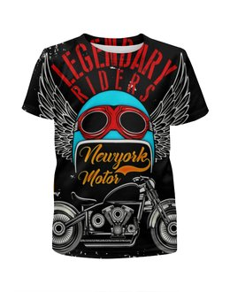 """Футболка с полной запечаткой для мальчиков """"Legendary riders"""" - мотоцикл, скорость, гонщик, транспорт, крылья"""