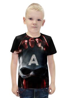 """Футболка с полной запечаткой для мальчиков """"Капитан Америка"""" - комикс, фантастика, марвел, iron man, captain america"""