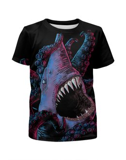 """Футболка с полной запечаткой для мальчиков """"Акула vs Осьминог"""" - ктулху, осьминог, акула"""