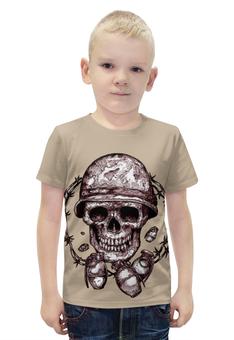 """Футболка с полной запечаткой для мальчиков """"Skull Art"""" - skull, череп, grenade, граната, череп в каске"""