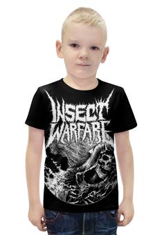 """Футболка с полной запечаткой для мальчиков """"Insect Warfare Band"""" - skull, череп, metal, тяжёлая музыка, insect warfare"""