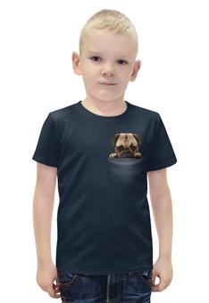 """Футболка с полной запечаткой для мальчиков """"Мопс в кармане"""" - животные, pug, собаки, мопс"""