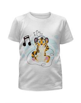 """Футболка с полной запечаткой для мальчиков """"Тигрёнок"""" - музыка, наушники, рисунок, тигрёнок"""