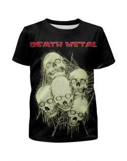 """Футболка с полной запечаткой для мальчиков """"Death Metal"""" - skull, череп, черепа, death metal, рок музыка"""