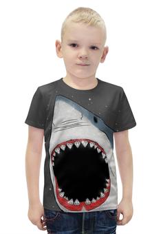 """Футболка с полной запечаткой для мальчиков """"Акула"""" - иллюстрация, оскал, акула, shark"""