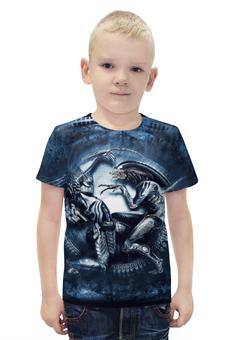 """Футболка с полной запечаткой для мальчиков """"Чужой против Хищника / Alien vs Predator"""" - хищник, рисунок, кино, чужой"""