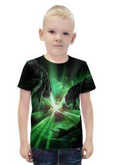 """Футболка с полной запечаткой для мальчиков """"Green Lantern vs aliens"""" - комиксы, супергерой, фэнтези, приключения"""