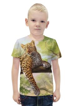 """Футболка с полной запечаткой для мальчиков """"Леопард"""" - рисунок, природа, леопард"""