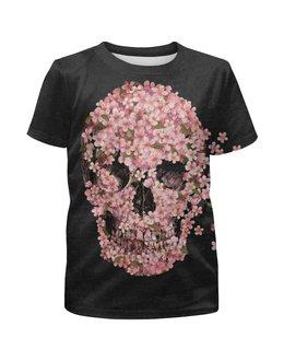 """Футболка с полной запечаткой для мальчиков """"розовый череп"""" - череп, цветы, pink, розовый, 2015"""