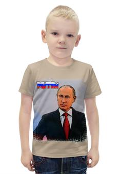 """Футболка с полной запечаткой для мальчиков """"Putin"""" - россия, russia, путин, президент, putin"""