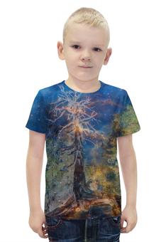 """Футболка с полной запечаткой для мальчиков """"Космическая сосна"""" - космос, лес, графика, синий, дерево"""