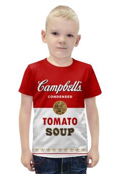 """Футболка с полной запечаткой для мальчиков """"Суп Кэмпбелл"""" - арт, поп арт, энди уорхол, суп кэмпбелл, campbells soup can"""