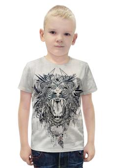 """Футболка с полной запечаткой для мальчиков """"Лев ловец снов"""" - tattoo, лев, lion, татуировка"""