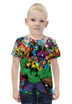 """Футболка с полной запечаткой для мальчиков """"Marvel heroes"""" - комиксы, герои, marvel, heroes, deadpool"""