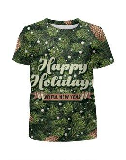 """Футболка с полной запечаткой для мальчиков """"С новым годом! (Happy New Year)"""" - новый год, new year, елка, шишки, happy holidays"""