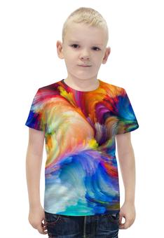 """Футболка с полной запечаткой для мальчиков """"КАРНАВАЛ"""" - арт, радуга, краски, абстракция"""