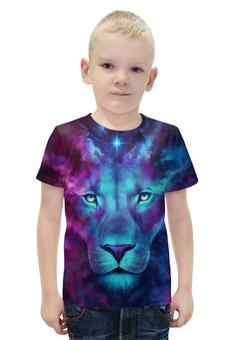 """Футболка с полной запечаткой для мальчиков """"Цветной лев"""" - животные, лев"""
