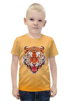 """Футболка с полной запечаткой для мальчиков """"Полигональный тигр"""" - арт, желтый, тигр, звери"""