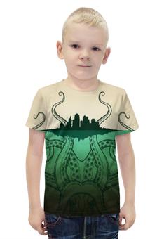 """Футболка с полной запечаткой для мальчиков """"Зелено-белое морское чудовище из глубин"""" - морское чудовище, запечатка, эпично"""