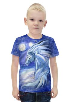 """Футболка с полной запечаткой для мальчиков """"Сны Архинджара"""" - арт, авторские майки, лошадь, голубой, животное"""