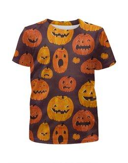 """Футболка с полной запечаткой для мальчиков """"Тыквы (Хэллоуин)"""" - хэллоуин, тыквы, pumpkin"""