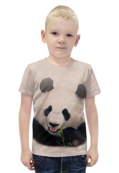 """Футболка с полной запечаткой для мальчиков """"Панда"""" - медведь, панда, китай, бело-черный, бамбуковый"""