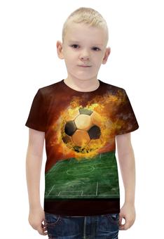 """Футболка с полной запечаткой для мальчиков """"Футбол"""" - огонь, мяч"""