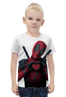 """Футболка с полной запечаткой для мальчиков """"Love Deadpool"""" - marvel, марвел, дэдпул, wilson"""