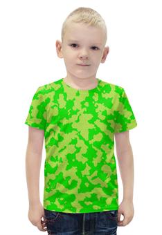 """Футболка с полной запечаткой для мальчиков """"Ярко-Зелёный Камуфляж"""" - армия, камуфляж, camouflage, военный, ярко зелёный камуфляж"""